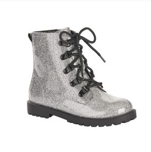 🆕️ Wonder Nation | Silver Sparkly Combat Boots